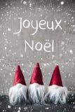 Gnomes rouges, ciment, flocons de neige, Joyeux Noel Means Merry Christmas image libre de droits