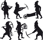 Gnomes silhouettes set 1 Royalty Free Stock Image