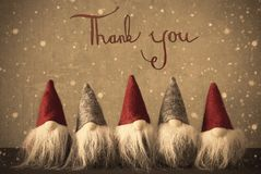 Gnomes, Snowflakes, Calligraphy Thank You Stock Photography