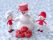 Gnomes and Snowman With Christmas Gifts Royalty Free Stock Photos