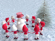 Gnomes and Snowman Dancing near the Pine Tree Stock Photos
