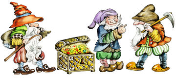 Gnomes and trunk with treasures. Cartoon characters of three dwarfs and trunk with treasures, hand painted Stock Photos