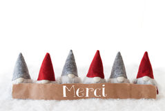 Gnomes, White Background, Merci Means Thank You Royalty Free Stock Photography