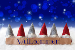 Gnomi, Bokeh blu, stelle, benvenuto di mezzi di Willkommen Fotografia Stock Libera da Diritti
