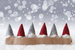 Gnomi, fondo d'argento, Bokeh, stelle, fiocchi di neve, spazio della copia Immagine Stock