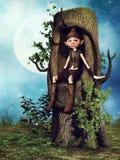 Gnomo de la fantasía que se sienta en un árbol stock de ilustración