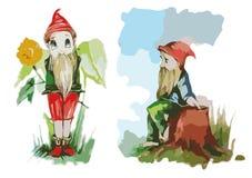 Gnomo del color de dibujo del niño de los gnomos dos Foto de archivo