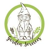 Gnomo del giardino di vettore Per il giardino assiste il logo Immagine Stock Libera da Diritti