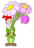 Gnomo del giardino del fumetto con un mazzo dei fiori Fotografie Stock Libere da Diritti