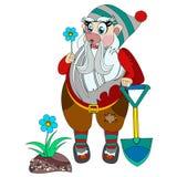 Gnomo engraçado que guarda a flor azul em sua mão Imagens de Stock
