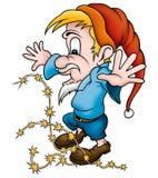 Gnomo y sparklers stock de ilustración