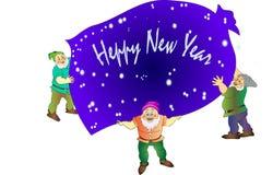 Gnomos alegres do frov do ano novo de Heppy ilustração stock