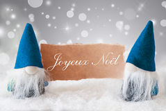 Gnomos azuis com cartão, Joyeux Noel Means Merry Christmas Foto de Stock Royalty Free