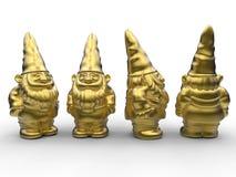 Gnomos dourados do jardim ilustração stock