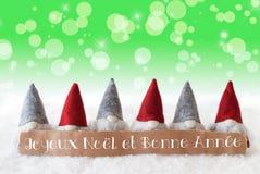 Gnomos, fondo verde, Bokeh, estrellas, Joyeux Noel Means Merry Christmas Fotos de archivo libres de regalías