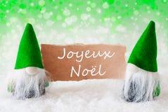 Gnomos naturais verdes com cartão, Joyeux Noel Means Merry Christmas imagens de stock