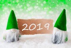 Gnomos naturais verdes com cartão, texto 2019, Bokeh fotos de stock