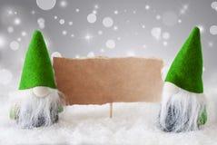 Gnomos verdes com cartão e neve, espaço da cópia Fotografia de Stock