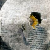 Gnosis. Mystical sunflower man and bird in the garden. Photo based illustration Stock Photography