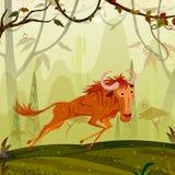Gnu för löst djur i djungelskogbakgrund Arkivfoton