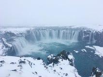 Goðafoss-Winter stockfoto