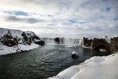 Goðafoss in the Snow. Winter landscape with sunshine on Goðafoss, Iceland Royalty Free Stock Image