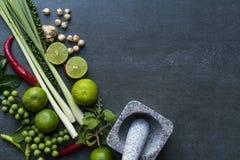 Goût d'ingrédients de nourriture, végétal et épicé thaïlandais photographie stock libre de droits