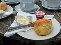 Goûter crème délicieux de confiture de scones de thés photo stock