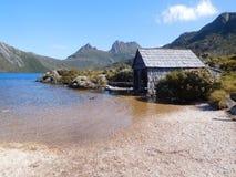 Gołąbka Jeziorny Boatshed, Tasmania Zdjęcie Royalty Free