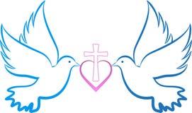 Gołąbki miłości krzyż Zdjęcie Stock