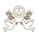 Gołąbki z pokoju i miłości symbolem odizolowywali ikonę royalty ilustracja