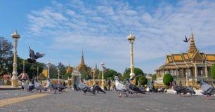 Gołębie w kwadracie przed Royal Palace Fotografia Stock