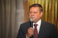 Gość honoru gubernatora poprzedni gubernator Leningrad region Valery Serdyukov Zdjęcie Stock