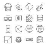Gościć i serwer odnosić sie kreskowe ikony ustawiamy 2 ilustracja wektor