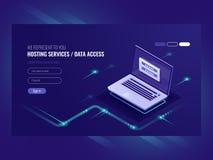 Gościć usługa, użytkownik autoryzaci forma, nazwy użytkownika hasło, rejestracja, laptop, sieć dane dostępu isometric wektor royalty ilustracja