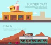 Gościa restauracji i hamburgeru kawiarnia ilustracja wektor