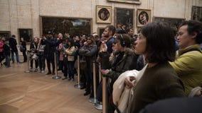 Goście biorą fotografie Leonardo DaVinci ` s ` Mona Lisa ` przy louvre muzeum zbiory wideo