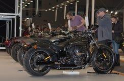 Goście przegląda grupy motocykle Harley Davidson obraz royalty free