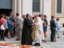 Goście spotykają przy ślubną ceremonią blisko kościół w Wiedeń Obrazy Stock
