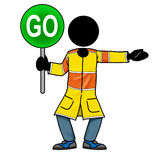 Go. Cartoon action icon of a silhouette man holding a go sign Stock Photography