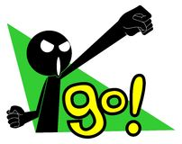 Go!. Black doll raising his fist and shouting Royalty Free Stock Image