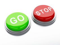 Go adnd stop buttons. 3d illustration Royalty Free Stock Photo