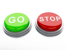 Go adnd stop buttons. 3d illustration Royalty Free Stock Photos