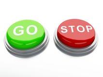 Go adnd stop buttons. 3d illustration stock illustration
