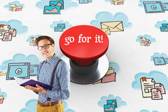 Go for it! against digitally generated red push button Stock Photos