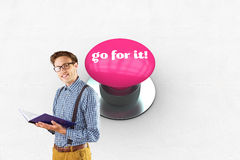 Go for it! against pink push button Stock Image