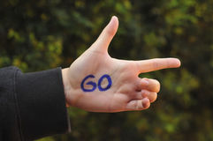 Go ahead hand gesture Royalty Free Stock Images