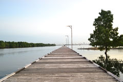 Bridge. This place called Tanjung limau. locatted at the north end of Bontang city, East Borneo, Indonesia. This is one of the recreational areas. every day Stock Photo