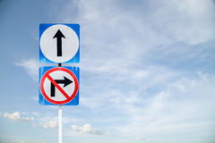 Go ahead the way ,forward sign and don't turn right sign with bl Royalty Free Stock Photo