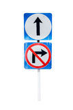 Go ahead the way ,forward sign and don't turn right sign ,on whi Stock Image